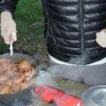 Sean Altman showing off his backcountry Cinnamon Rolls